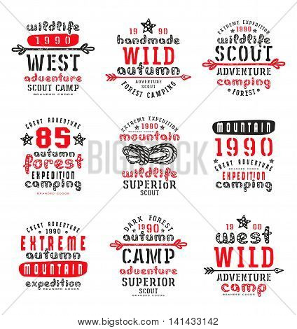Set of typographic compositions for t-shirt. Outdoor recreation. Print on white background
