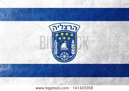 Flag Of Herzliya City , Israel, Painted On Leather Texture