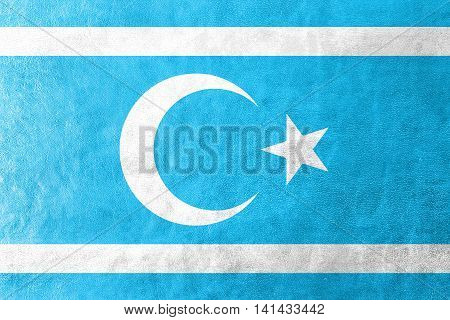 Flag Of Iraqi Turkmen Front, Painted On Leather Texture