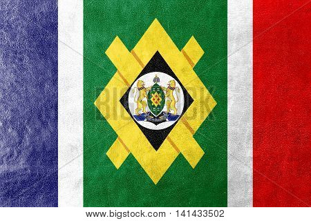 Flag Of Johannesburg, South Africa, Painted On Leather Texture