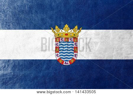 Flag Of Jerez, Andalusia, Spain, Painted On Leather Texture