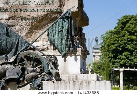 Detail of Monument to General Martinez Campos. It is located at Retiro Park Madrid Spain. It was designed by Mariano Benlliure and inaugurated on January 28 1907.