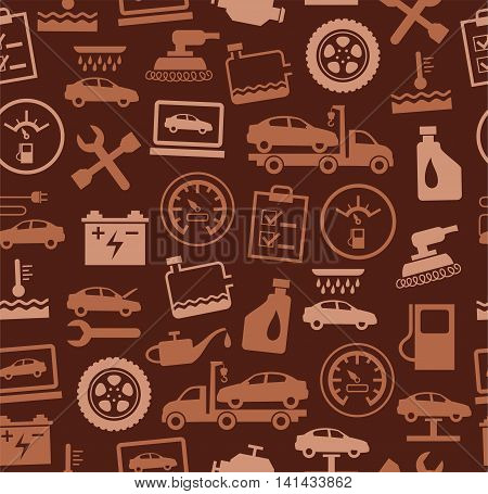 Repair and maintenance of vehicles, seamless pattern, brown. Vector flat background with drawings of services an auto repair shop. Brown, bright image on a dark brown background.