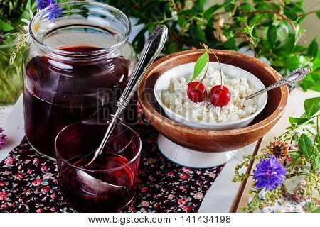 rustic cottage cheese with cherry compote, jelly, bank, ladle, ladle, morning breakfast cottage village