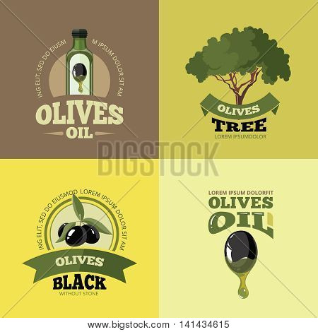 vector labels set of Olives, tree, oil botles and leaf isolated on four diferent color backgrounds. Pictures for your personal design project.