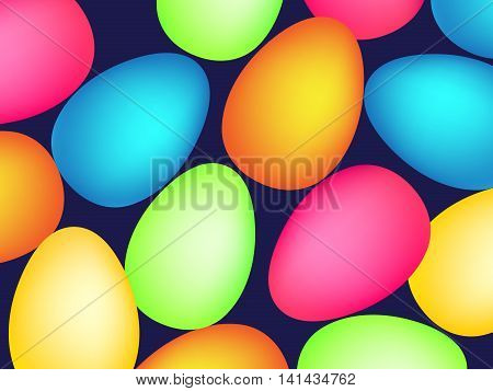 Happy easter pattern with eggs. Vector illustration in neon style