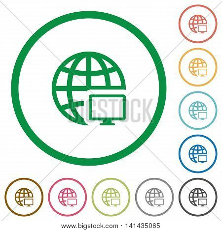 Set of Remote terminal color round outlined flat icons on white background
