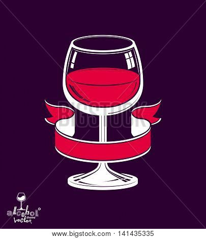 Realistic goblet of wine with decorative ribbon placed over dark background
