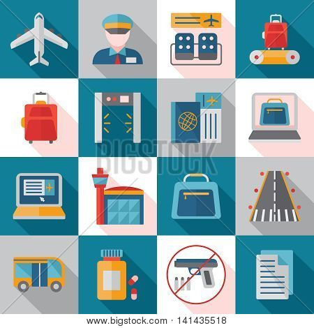 Airport service flat icons with transportation runway customs and passport control waiting hall isolated vector illustration