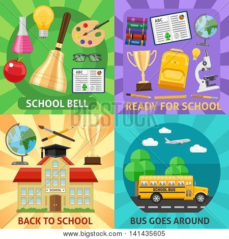 Education flat compositions with bus bell to lesson ready for study back to school isolated vector illustration