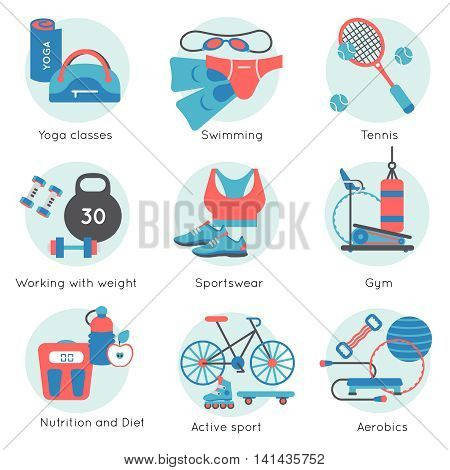 Fitness gym colored icon set in blue round on tennis swimming aerobics yoga classes themes vector illustration