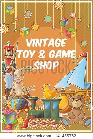 Toys shop colored poster with vintage toy and game shop title on orange background vector illustration