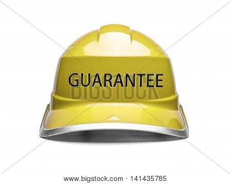 Yellow safety helmet with an inscription guarantee on a white background