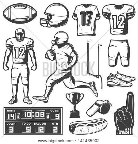 American football monochrome elements set with sports equipment and clothing players trophy food isolated vector illustration