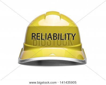 Yellow safety helmet with an inscription reliablity on a white background