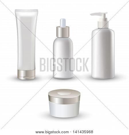 Isolated white realistic cosmetic tubes icon set for cream and emulsion skin care vector illustration