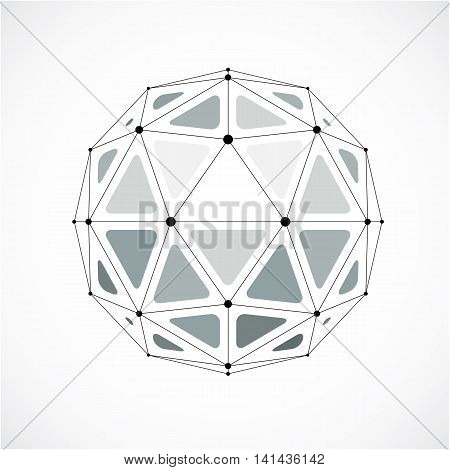 Abstract 3D Faceted Figure With Connected Black Lines And Dots. Monochrome Vector Low Poly Design El