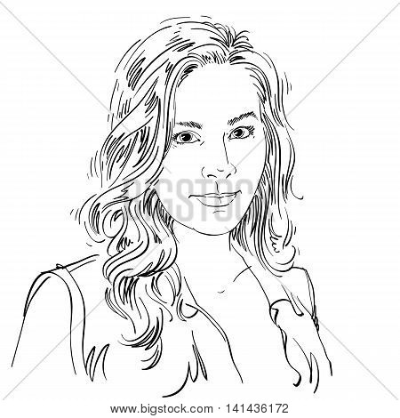 Artistic Hand-drawn Vector Image, Black And White Portrait Of Delicate Stylish Girl. Emotions Theme