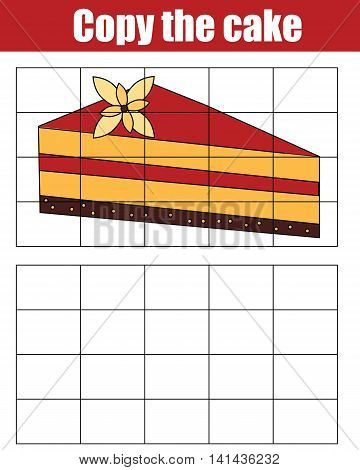 Copy the picture using a grid children educational drawing game. Drawing kids activity copy the cake
