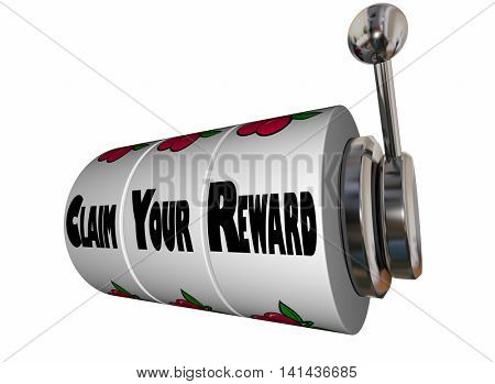 Claim Your Reward Prize Slot Machine Wheels 3d Illustration