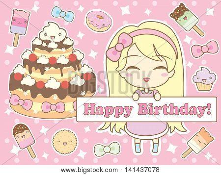 Happy birthday card with cute smiling cartoon chibi girl. Vector illustration.
