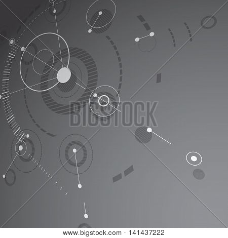 Modular Bauhaus 3d vector background created from geometric figures like circles and lines.
