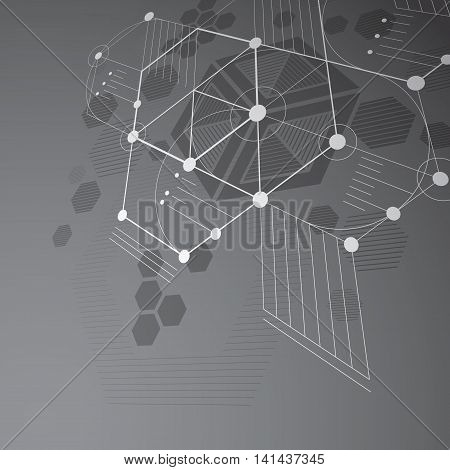 Bauhaus art dimensional composition perspective grayscale modular vector backdrop with honeycombs.