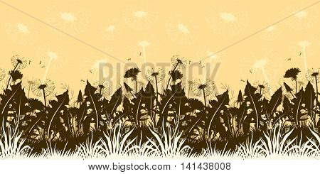 Summer Landscape, Flowers Dandelions with Leaves and Seeds and Grass Silhouettes and Contours, Horizontal Seamless Pattern. Vector