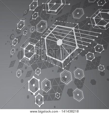 3d vector abstract grayscale background created in Bauhaus retro style.