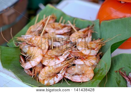 Grilled seafood Shrimp Barbecue on  the table