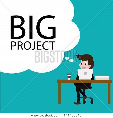 Business thinking big project idea.business cartoon concept.