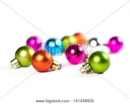 Chrstmas tree balls with focus on the foreground. Multicolored christmas balls.