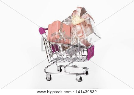 Gift Boxes In Trolley Shopping Card