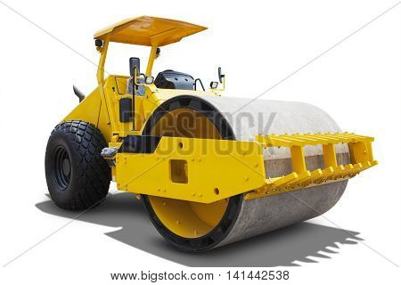 Image of compactor machine with yellow color in the studio isolated on white background