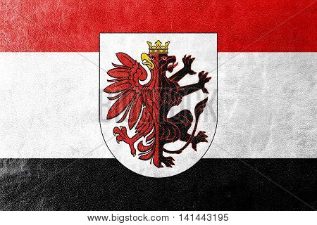 Flag Of Kuyavian-pomeranian Voivodeship With Coat Of Arms, Poland, Painted On Leather Texture
