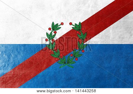 Flag Of La Rioja Province, Argentina, Painted On Leather Texture
