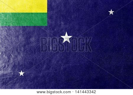 Flag Of Lages, Santa Catarina State, Brazil, Painted On Leather Texture