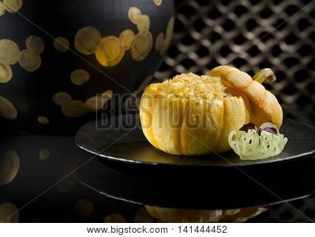 Lai Heen baked crispy fried rice with seafood in baby pumpkin