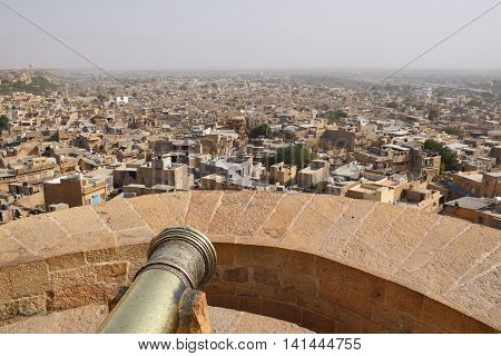 Aerial view of Jaisalmer from its fort, Rajasthan, India