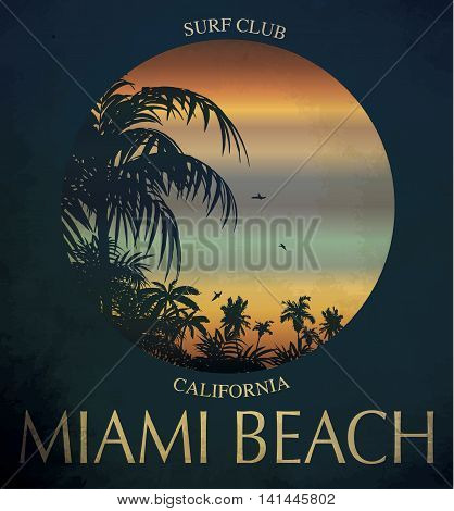 Miami beach Surf club concept Vector Summer surfing retro badge. Surfer club emblem outdoors banner vintage background