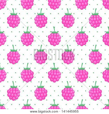 Seamless background with pink raspberry. Cute vector raspberry pattern. Summer fruit illustration on polka dots background. Design for textile, wallpaper, web, fabric and decor.
