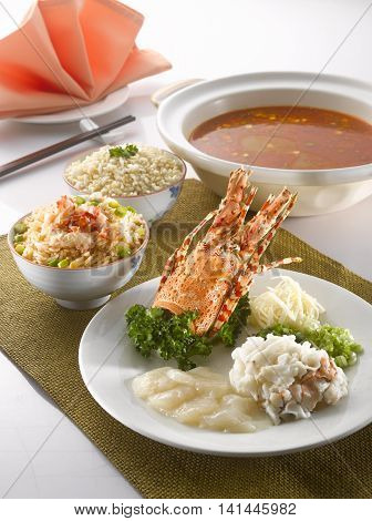 Blanched Ying Yang pomfret lobster with Chinese cabbage and minced meat in superior fish stock