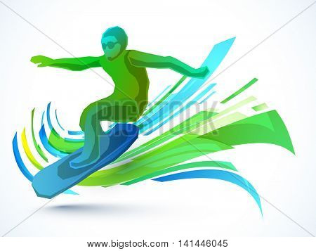 Creative illustration of a Surfer on abstract background for Sports concept.