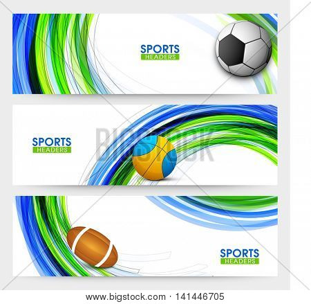 Creative Website Header or Banner set with illustration of different balls on abstract pattern for Sports concept.