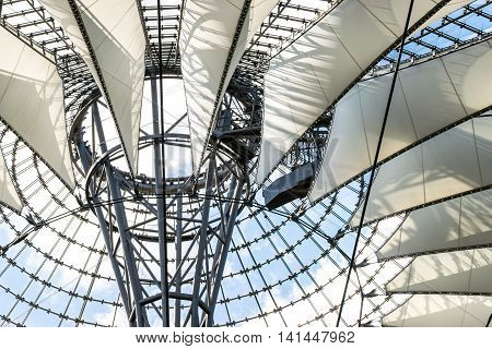BERLIN, GERMANY - JUNE 22, 2016: Futuristic modern design roof at Sony Center, Potsdamer Platz, Berlin, Germany.