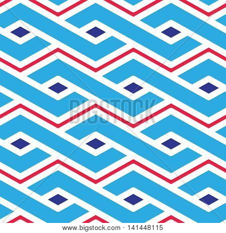 Geometric seamless pattern symmetric endless vector background with intertwine lines.