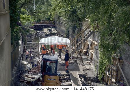 RIBE DENMARK - AUGUST 4 2016: Renovation of old locks and fish passage where Ribe River goes through the city.