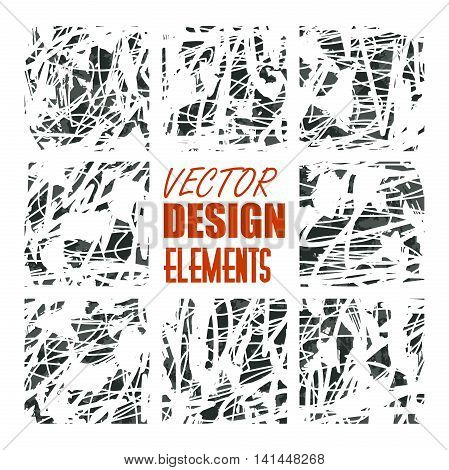 vector grunge textures, backgrounds and brushes. Artistic collection of design elements. Isolated vector eps 10.