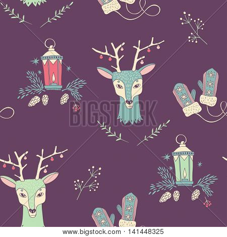 Happy New Year and Merry Christmas. seamless pattern. vector hand drawn background with deer, lantern, mittens and traditional Christmas plants