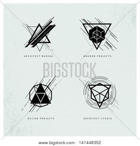 Vector abstract grunge polygonal logo design sample isolated on grey background. Architect studio logo design, industrial modern projects brand mark symbol. Geometric shapes and lines.